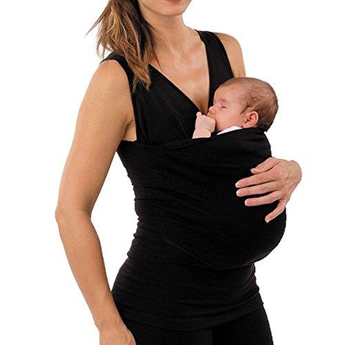 SICHYUAN Frauen Multifunktionale Kangaroo Baby Carrier Holder Weste Babytragen,Rmellos Legeres Baumwoll T-Shirt Umstandsbekleidung Carrier Sling. (Ärmelloses Legeres Kleid)