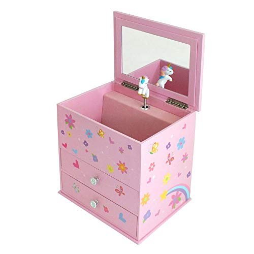 142d5ba22b42 Mele   Co. Girls Pink Unicorn Themed Musical 2 Drawer Jewellery Box