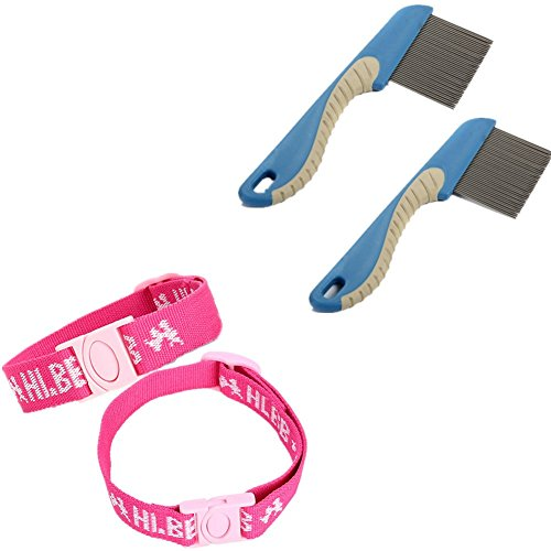 Fully 2x Katzen Hunde Ungezieferhalsband Flohhalsband gegen Flöhe Zecken Milben hält bis zu 4 Monaten + 2x Nissenkamm Läusekamm 15.5x4cm (Blau für Hunde L (Halsumfang: 30-50cm))