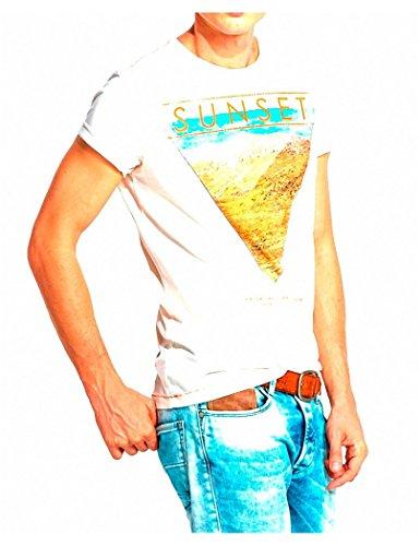 """Salsa - Kurzarm-T-Shirt mit """"Sunset"""" Frontprint - Herren Beige - Beige"""