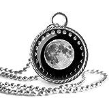 Fases de la luna collar, colgante de la imagen de la luna, joyería de cristal de la cúpula, un regalo para ella