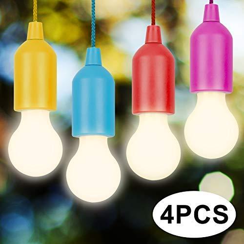 Vitutech LED Campinglampe, Lamping LED Leuchte AAA Batterien Camping hanging LED Lampe 4 Stück Colors für Wandern, Angeln, Schreibtisch, Camping, Garten, BBQ oder einfach als dekorative Lampe
