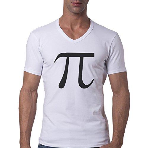 Number Math Symbol Calculus Equations Black Big Pi Skinny Herren V-Neck T-Shirt Weiß