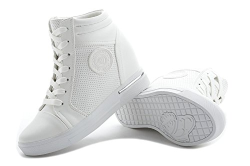 Damen Sneaker-Wedges Sneakers Keilabsatz Klettverschluss High-Top Sportschuhe Stiefeletten Weiß