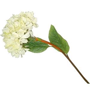 Better & Best Flor de Hortensia Artificial, pequeña, Color Blanco, Tela/Plástico, 36x15x15 cm