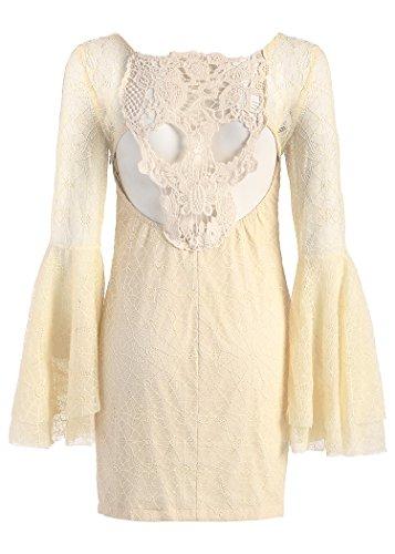 Robe bohème en allure dentelle ivoire avec manches cloche et crâne coupé Blanc