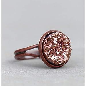 Kupfer Ring mit rosè Druzy