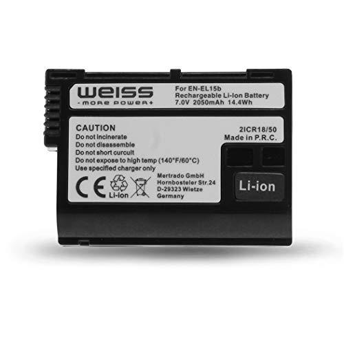 Weiss - More Power + Akku für Nikon EN-EL15b Li-Ion 2050mAh kompatibel mit Nikon Z6 | Nikon Z7 | Nikon D7200 [abwärtskompatibel mit Nikon EN-EL15a und Nikon EN-EL15]