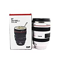 Deals SLR Camera Lens Stainless Steel Travel Coffee Mug with Leak-Proof Lid (White)