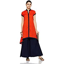 Indi lite Women's Asymmetrical Hemline Kurta (ILPP12B_Orange_X-Large)