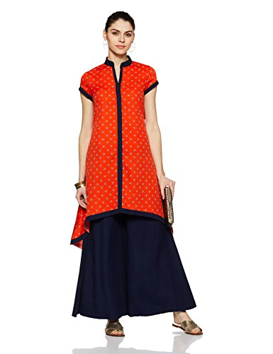 Indi lite Women's Asymmetrical Hemline Kurta (ILPP12B_Orange_Medium)