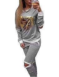 Zeagoo® femme casual sexy sport deux pièces ensemble survêtement - sweat-shirts + pantalons - manches longues - imprime de coeur