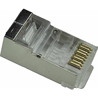 Ansice RJ45 CAT6 CAT6e Shieled Crimp Connector Crystal Head Modular Plug Ethernet Network Connector (L, 50 PC)