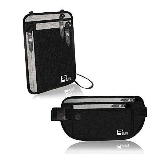 RFID Geldgürtel + Brustbeutel / Reisepass-Etui für die Reise. Versteckte Sicherheitstasche / Beckengurt / Gürteltasche Leicht, sicher
