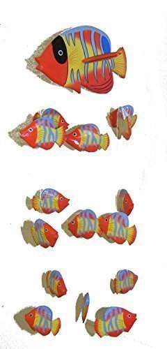 (Red Kissing Fish Mobile from Bali with 16 Hand Painted Fish - Suitable for Children - Fair Trade)