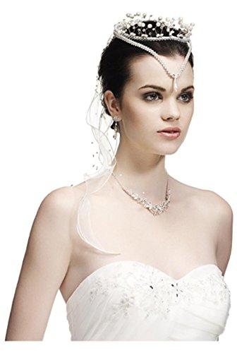 Double diadème femme avec rubans pour mariage Blanc