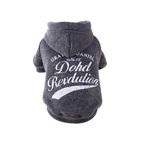 KanLin Hundebekleidung Herbst Winter Pullover Kapuzenjacke Schönes Kostüm (L, Gray) (Prinzessin Carrier Dog)