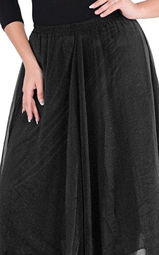 MEXI Frauen Boho Spitze-Gaze Double-Layer-elastische Taillen-langer Maxi Rock Schwarz