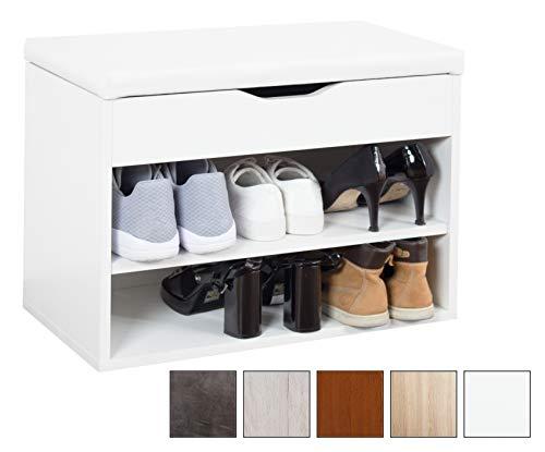 RICOO Banco de Armario Zapatería con almacén Plegable WM032-W-W Estanterías con Asientos Acolchado para la casa Entrada de Madera Baúl Botas Banco Zapatero de Almacenamiento de Zapatos Color Blanco