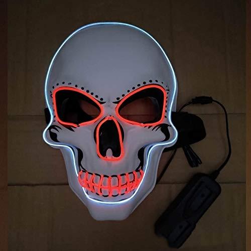 Two Face Kostüm Kind Batman - WSCOLL Halloween LED Maske Glowing In Dark Mask Skeleton Halloween Maske Vollgesichtsrolle Dress Up Cosplay Maske für DJ Party Two Farben