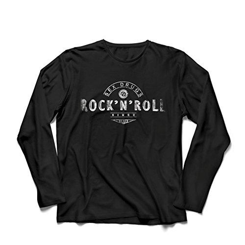 Maglietta a Manica Lunga da Uomo Sex Drugs And Rock And Roll - Anni '60, 70, 80 - Band Rock Vintage - Musicamente - Abbigliamento da Concerto (Medium Nero Multicolore)