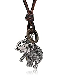 Elefant Anh/änger Lederkette Halskette Schmuck Modeaccessoire