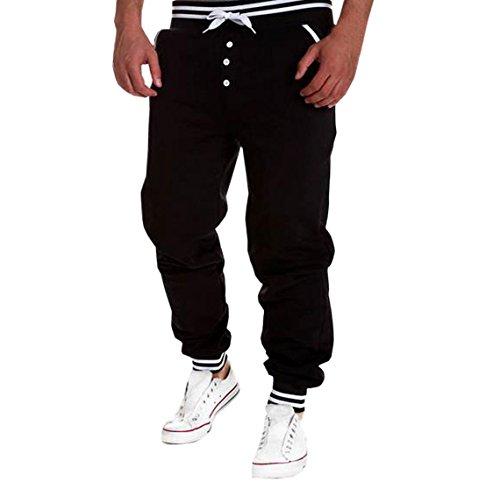 YueLian Puro Pantaloni Sportivi Uomo Grande con Vita Elastica Nero