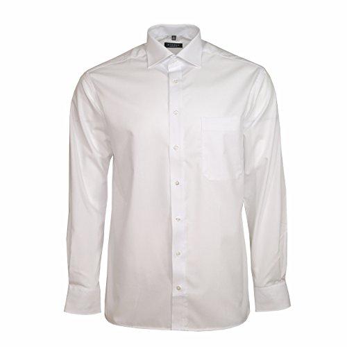 Baumwolle Popeline Hemd (ETERNA Langarm Hemd COMFORT FIT Popeline unifarben, Weiß, W40 Langarm)