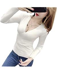 Maglia Basic da Donna con Scollo a V Profondo a Maniche Lunghe Slim Fit  Maglione a ddf995e4a97