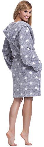 L&L Damen Bademantel mit Kapuze Darcy Short Melange/Weiß Sterne