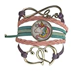 Collection Infinity Bracelet à Breloques Licorne pour Filles