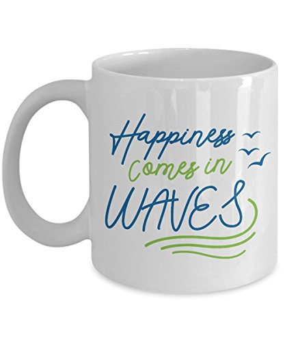 Happiness Comes In Waves Beach Quotes Coffee & Tea Gift Mug for Beach Lover Men & Women