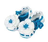 Bigood Cotton Newborn Crochet Knit Sandals Toddler Shoes White big flower