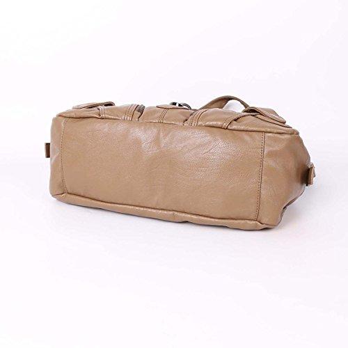 21K 2 chiusure con cerniera chiusura di borse multifunzione tasche borse in lana lavate borse a tracolla AK11282 fango