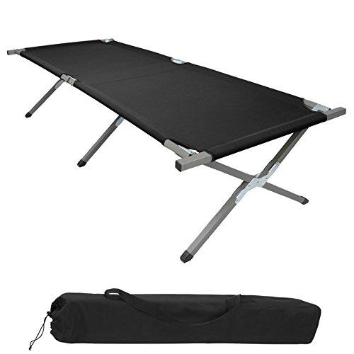 BB Sport Feldbett190 x 64 x 41 cm stabiles Campingbett mit Stahlrohr verstärkt bis 120 kg belastbar, Farbe:schwarz