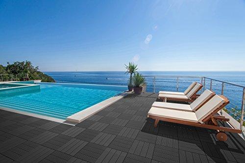 SAM® Mattonelle in WPC ad incastro per terrazzo, set di 22 pezzi di circa 2 m², colore grigio antracite, con 4 listelli, pavimentazione per balcone con struttura di drenaggio sottostante - 5