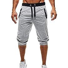 Pantalones Cortos de Deporte de los Hombres Pantalones Deportivos Fitness Jogging Elastic elástico Culturismo Bermudas