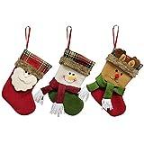 Decdeal 3pcs / set Carino Natale appeso calze Babbo Natale pupazzo di neve regalo renna Candy Bags Decorazioni di Natale Ornamenti