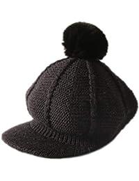 Leisial Gorros de Punto Otoño Invierno Gorra de Beisbol Bola de Pelo Cálido  al Aire Libre Sombrero de Niños Niñas(3… 6991944fd32