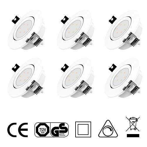 LED Einbaustrahler Dimmbar und Schwenkbar IP20 Ultra flach inkl. 6 x 5W GU10 Leuchtmittel austauschbar Farbe Weiss 230 Volt 420lm Warmweiss Einbauleuchten LED Spots -