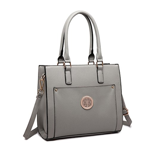 Miss Lulu Women Adjustable Designer Shoulder Handbags Ladies A4 Size Laptop Large  Faux Leather Tote Bags (1650 Grey) - Buy Online in UAE. 8478e54c53443