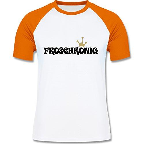 Typisch Männer - Froschkönig - zweifarbiges Baseballshirt für Männer Weiß/Orange