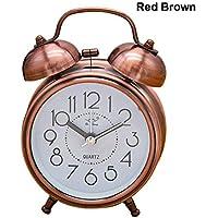 Lucky Family Timbre de Metal Despertador, Despertador silencioso Vintage 3 Pulgadas Retro Alarm Clock Reloj