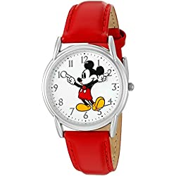 Disney Women's 'Mickey Mouse' Quartz Metal Automatic Watch, Color:Red (Model: W002753)