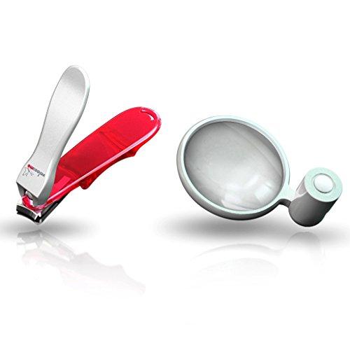 Genius - Nagelknipser 3D-Knipser, groß inkl. Lupe weiß 11145