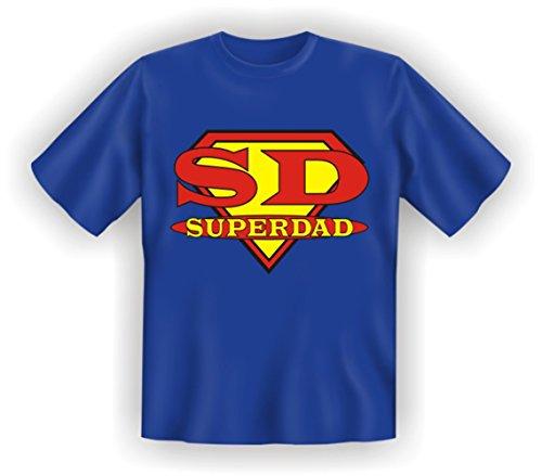 T-Shirt – SD Superdad – Geschenk für den Vater / Opa zum Vatertag - lustiges Sprüche Shirt Blau