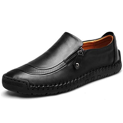 Mocassini Uomo Pelle Estivi Pantofole Casual Eleganti Slip On Scarpe da Guida Scarpe da Barca Classic Loafers (44.5 EU, Nero)
