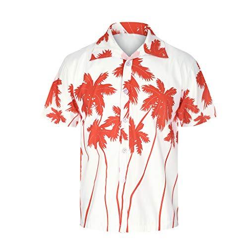 Xmiral T-Shirt Hemd Herren Personalisierte Bedruckte Strandoberseite Kurzarmshirt Top Hemd mit kurzen Ärmeln Lässige T-Shirt(Orange,5XL) - Herren-cutaway-kragen-shirt