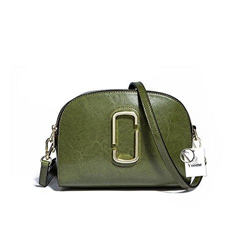 Yoome piccolo lusso in vera pelle cross corpo borse cerniera trucco portafogli borse a tracolla per le donne ragazze adolescenti - blu verde