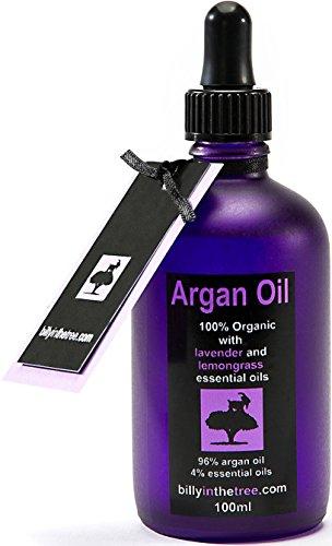 Billy in the Tree - Pure huile d'argan avec huiles essentielles de lavande et citronnelle 100% Organique - Pour le visage, le corps, les cheveux - 100ml